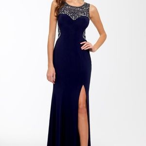 Evening Gown with heavily beaded back